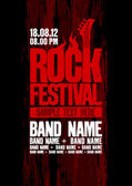 Rock festival design template with bass guitar and place for text