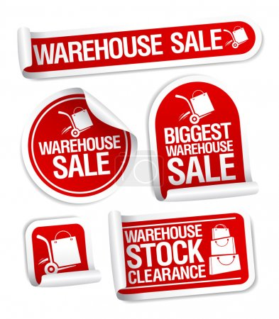 Warehouse sale stickers.