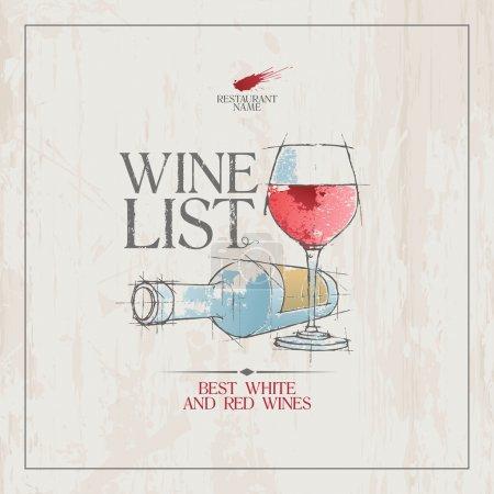 Illustration pour Carte des vins Modèle de carte de menu . - image libre de droit