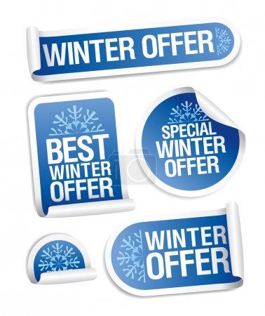 Illustration pour Offre spéciale hiver stickers set . - image libre de droit