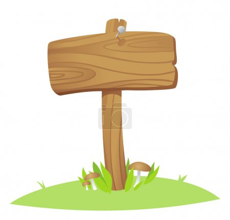 Illustration for Wooden boards on a grass - Royalty Free Image