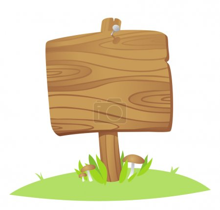 Illustration for Wooden board on a grass - Royalty Free Image