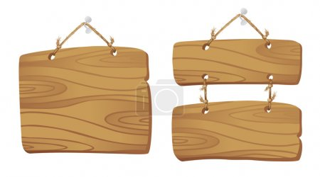 Illustration for Wooden boards hanging on a cord. - Royalty Free Image