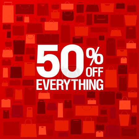 Illustration for 50 percent off sale background with shopping bags pattern. - Royalty Free Image
