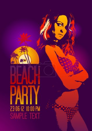 Illustration for Beach Party design template with fashion girl and place for text. - Royalty Free Image