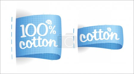 Illustration for Clothing labels for cotton production. - Royalty Free Image