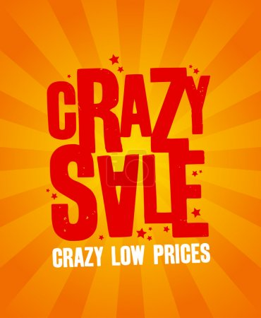 Illustration for Crazy sale design template. - Royalty Free Image