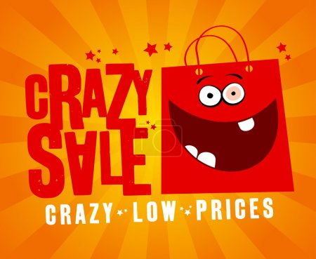 Illustration for Crazy sale design template, with fun red bag. - Royalty Free Image
