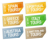 Travel stickers tickets