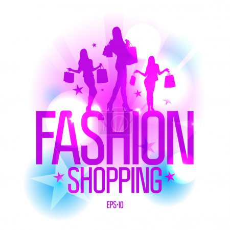 Illustration for Fashion shopping design template with fashion girls silhouette in ray lights. Eps10 Vector. - Royalty Free Image