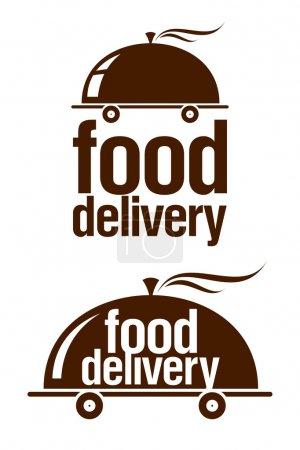 Illustration pour Jeu de signes de livraison alimentaire. - image libre de droit