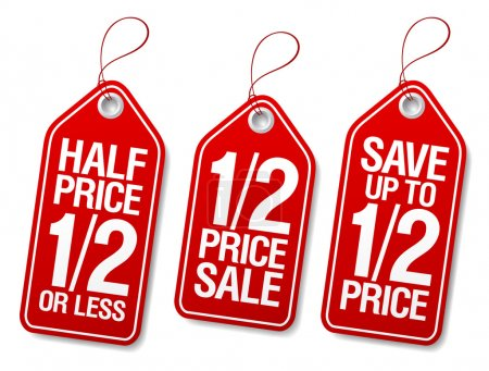 Illustration for Half price save, promotional sale labels set. - Royalty Free Image