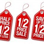 Half price save, promotional sale labels set....