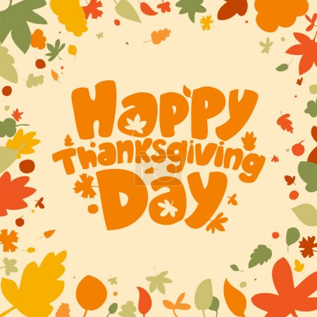 Illustration for Happy Thanksgiving Day card. - Royalty Free Image