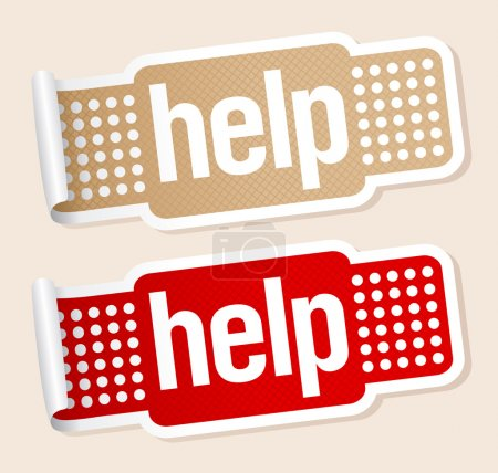 Illustration for Help stickers in shape of the patch. - Royalty Free Image