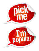 Pick me I am popular stickers in form of speech bubbles