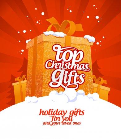 Illustration pour Top modèle de conception de cadeaux de Noël . - image libre de droit