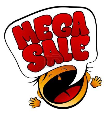 Mega Sale screaming girl.