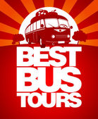 Best bus tours design template with retro bus