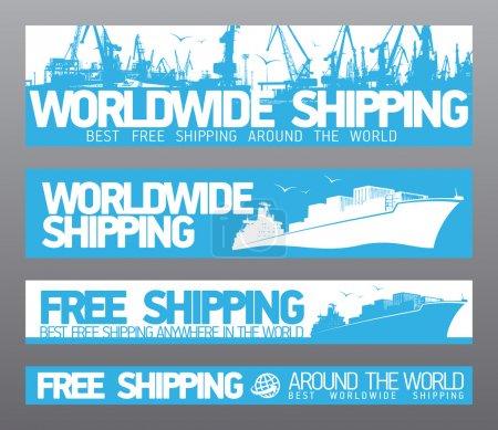 Ilustración de Colección de banderas envío gratis en todo el mundo. - Imagen libre de derechos