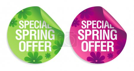 Illustration for Special spring offer stickers set. - Royalty Free Image