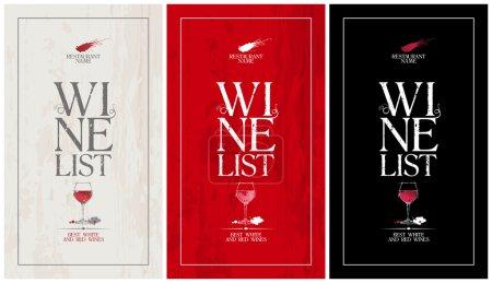 Illustration pour Carte des vins Carte de menu Design template.set - image libre de droit