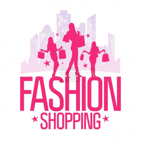 Fashion shopping design template with fashion girls.