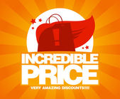 Incredible price sale design template with shopping bag as a superhero