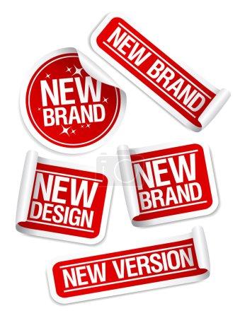 Illustration pour Nouvelle marque, Design, Version autocollants ensemble . - image libre de droit