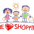 We love shopping illustration with family.