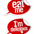 Eat me, delicious food stickers set in form of spe...