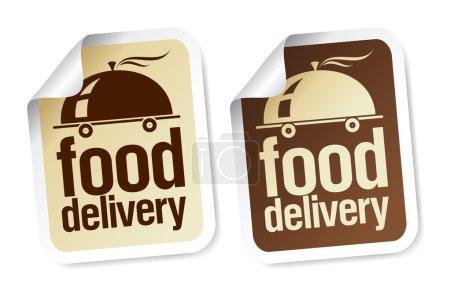Illustration pour Alimentation livraison autocollants ensemble. - image libre de droit