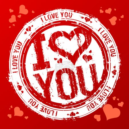 Illustration for I love you vector rubber stamp. - Royalty Free Image
