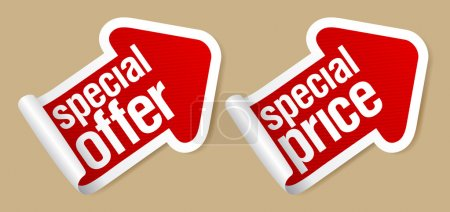 Illustration for Special offer stickers in form of arrow. - Royalty Free Image