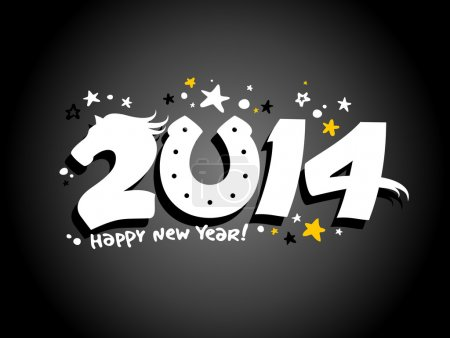 Happy 2014 year design with horse.