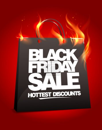 Illustration for Fiery black friday sale design with shopping bag. Eps10. - Royalty Free Image