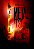 Metal fest design template with guitar in flames and place for text Eps10