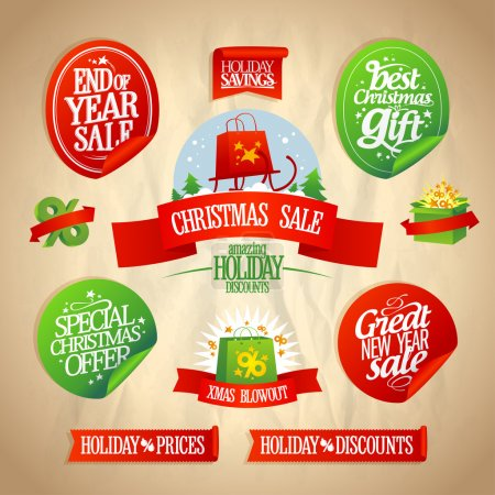 New year and Christmas sale designs collection.
