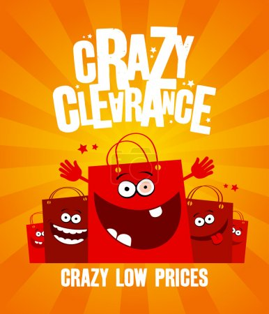 Illustration for Funny shopping bags, crazy clearance banner - Royalty Free Image