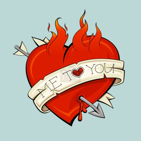 Burning heart with arrow and ribbon, tattoo style....
