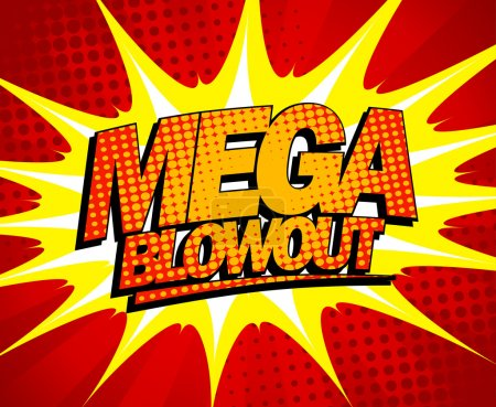 Illustration for Explosive mega blowout design in pop-art style. - Royalty Free Image