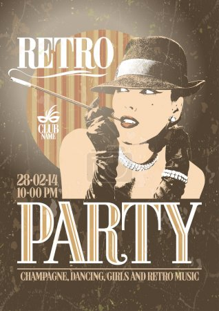 Retro party poster with old-fashioned smoking woman.