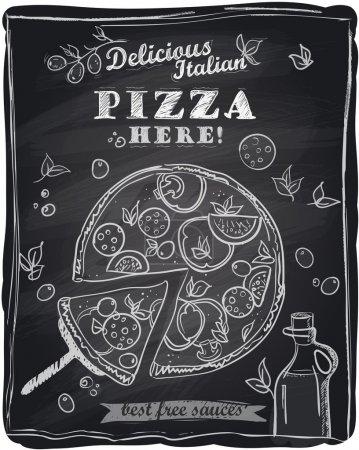 Illustration pour Pizza à la craie avec la tranche coupée, fond de tableau . - image libre de droit