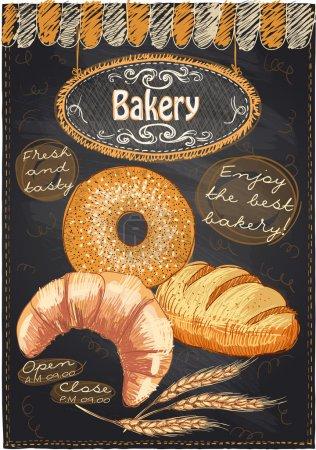 Illustration pour Menu café tableau avec gâteau et place pour le texte . - image libre de droit