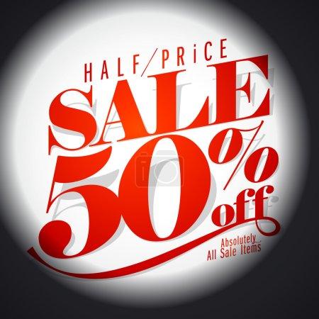 50 percent sale banner.