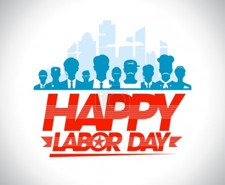 Happy labor day design with workers.