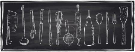 Illustration pour Hand drawn set of kitchen utensils on a chalkboard background. Eps10 - image libre de droit