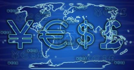 Photo pour Taux de change mondiaux sur la carte du monde . - image libre de droit