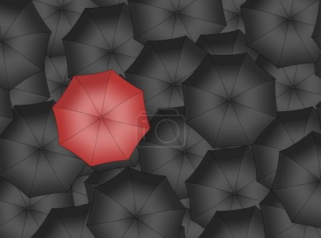 Red umbrella. Bright red umbrella among set of black umbrellas.