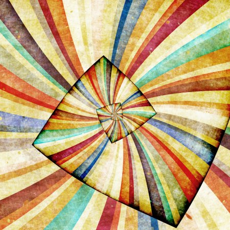 Photo pour Rayons de soleil multicolores fond grunge. Affiche rétro - image libre de droit